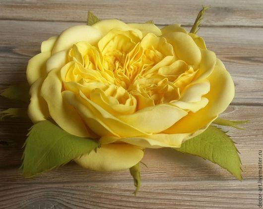 Брошь-заколка РОЗА ДЕВИДА ОСТИНА ЖЕЛТАЯ. Цветы из ревелюра Анастасия (Decor-art)
