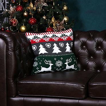 """Текстиль ручной работы. Ярмарка Мастеров - ручная работа Чехол для подушки """"Норвежские олени"""" из шерсти. Handmade."""