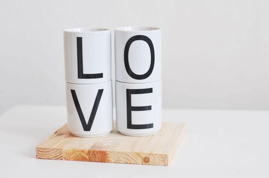 Бокалы, стаканы ручной работы. Ярмарка Мастеров - ручная работа. Купить набор стаканчиков LOVE. Handmade. Чёрно-белый, деколь