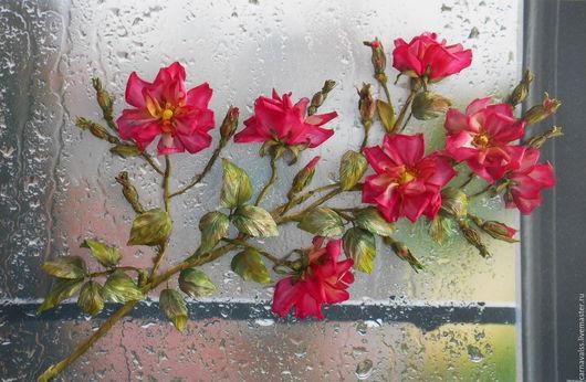 Картины цветов ручной работы. Ярмарка Мастеров - ручная работа. Купить Летний дождь. Нежный шиповник.. Handmade. Комбинированный