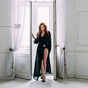 """Одежда ручной работы. Ярмарка Мастеров - ручная работа Пеньюар """"Моя королева"""" - сексуальный длинный черный пеньюар. Handmade."""