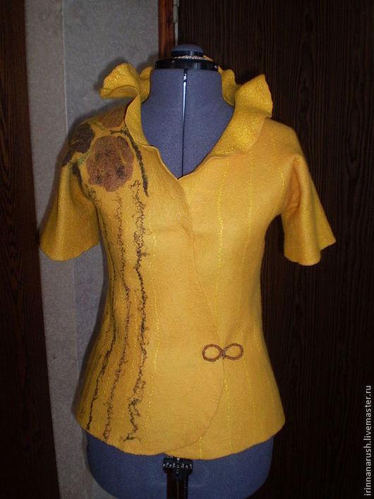 Пиджаки, жакеты ручной работы. Ярмарка Мастеров - ручная работа. Купить Валяный жакет  Солнечный. Handmade. Желтый, шерсть