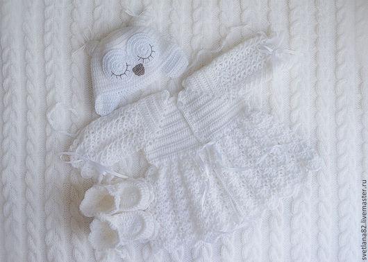 """Для новорожденных, ручной работы. Ярмарка Мастеров - ручная работа. Купить Комплект """"Спящий белый совенок с пледом"""". Handmade. Белый"""