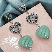 Украшения handmade. Livemaster - original item Long silver earrings with carved jade Mint. Handmade.