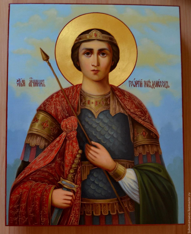Рукописная икона. Икона святой Георгий Победоносец, Иконы, Сергиев Посад, Фото №1