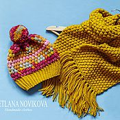 Аксессуары ручной работы. Ярмарка Мастеров - ручная работа Комплект из шапки и шарфа. Handmade.