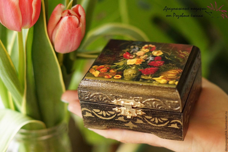 шкатулка декупаж ручная работа купить цветы с цветами букет цветов подарок женщине купить 8 марта питер спб живопись натюрморт для украшений шкатулка маленькая деревянная шкатулка золото