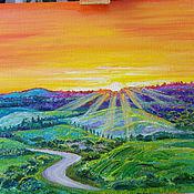 Картины и панно handmade. Livemaster - original item Landscape painting Fields of gold painted in oil. Handmade.