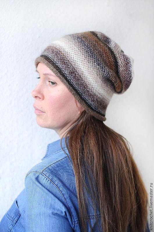"""Шапки ручной работы. Ярмарка Мастеров - ручная работа. Купить Бело-серо-коричневая вязаная шапка """"Просто Полоски"""". Handmade."""