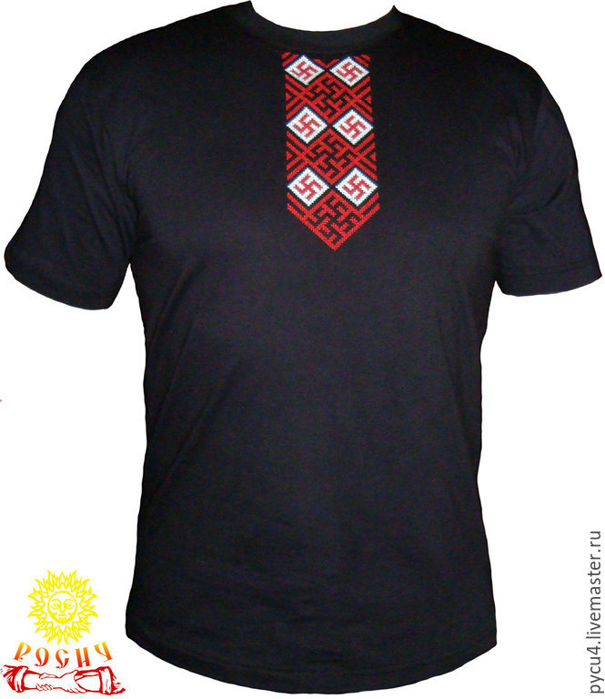 T-shirt Slavic amulet Posolon. 100% cotton. Cross-stitch the collar. When ordering please specify t-shirt size, optional - t-shirt color and embroidery.
