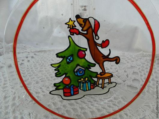 Новый год 2017 ручной работы. Ярмарка Мастеров - ручная работа. Купить Новогодняя стеклянная тарелочка из серии Добро. Handmade. Новыйг год