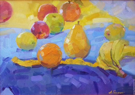 """Натюрморт ручной работы. Ярмарка Мастеров - ручная работа. Купить """"Фрукты"""" яркий, натюрморт, яблоки, бананы, груша, апельсин. Handmade."""