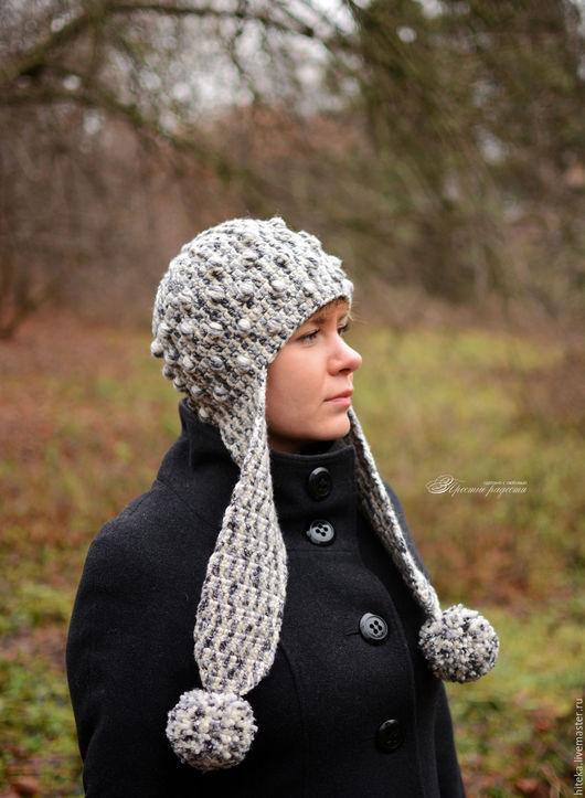 """Шапки ручной работы. Ярмарка Мастеров - ручная работа. Купить Теплая шапка с ушками """"Северный ветер"""". Handmade. Чёрно-белый"""