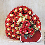 """Подарки к праздникам ручной работы. Ярмарка Мастеров - ручная работа Букет из конфет Сердце  """"Признание"""". Handmade."""
