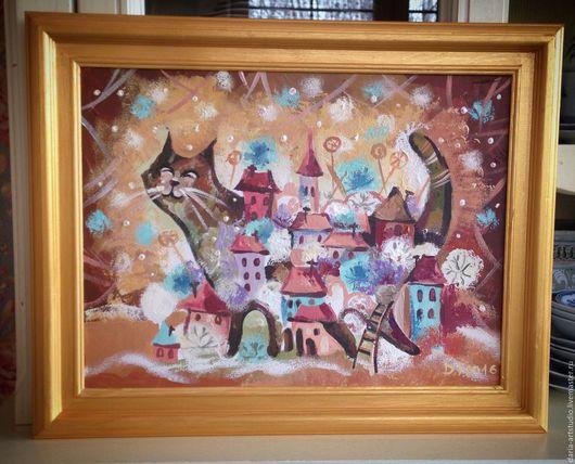 Город ручной работы. Ярмарка Мастеров - ручная работа. Купить Город кошка. Handmade. Бежевый, золото, кошка, кот, холст