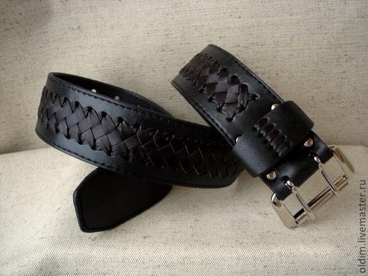 Пояса, ремни ручной работы. Ярмарка Мастеров - ручная работа. Купить Черный кожаный ремень с плетением. Handmade. Черный, подарок