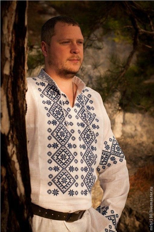 Рубаха АЛАТЫРЬ  (бело-синяя)