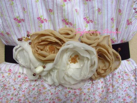 Пояса, ремни ручной работы. Ярмарка Мастеров - ручная работа. Купить Ecru. Handmade. Пояс женский, цветы из ткани, шифон