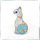 Брошь `Кошечка с бирюзовым хвостиком` ARIEL - Алёна - МОЗАИКА  Москва  Брошь с бирюзой  Брошь с перламутром  Брошь - Мозаика из натуральных камней Брошь авторская ручной работы