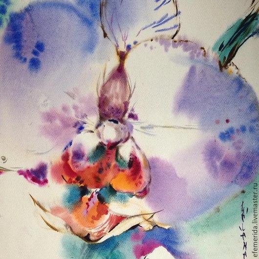 Картины цветов ручной работы. Ярмарка Мастеров - ручная работа. Купить акварель голубая орхидея. Handmade. Голубой, орхидея, акварель