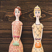 """Куклы и игрушки ручной работы. Ярмарка Мастеров - ручная работа Кукла-колокольчик """"Девушка в платье а-ля ретро"""". Handmade."""