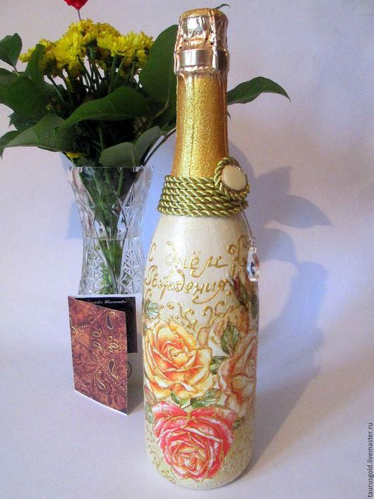 """Подарочное оформление бутылок ручной работы. Ярмарка Мастеров - ручная работа. Купить Декоративное оформление бутылки """"Розы"""". Handmade."""