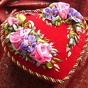 Для дома и интерьера handmade. Livemaster - original item Casket for needlework with ALL my HEART. Embroidery ribbons.. Handmade.
