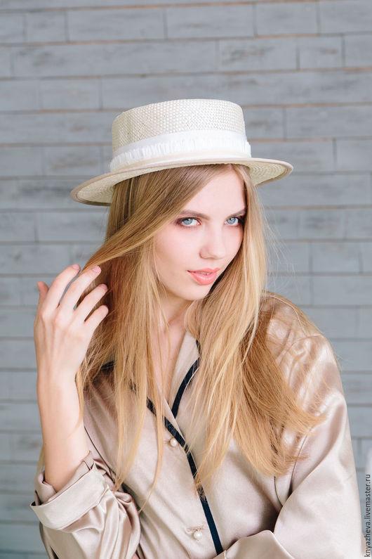 """Шляпы ручной работы. Ярмарка Мастеров - ручная работа. Купить Соломенная шляпка - канотье """" Лёгкость """".. Handmade. Белый"""