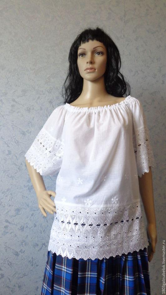 Топы ручной работы. Ярмарка Мастеров - ручная работа. Купить Топ Летняя блузка-туника Шитье. Handmade. Белый