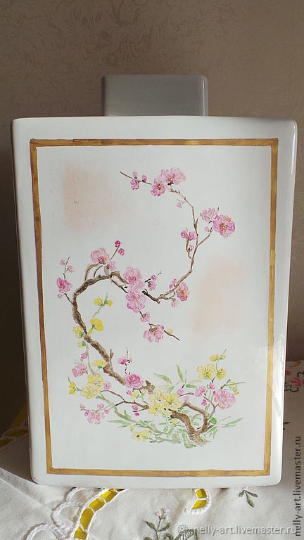 Ваза, японский самурай. Ручная роспись