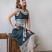 "Одежда handmade. Livemaster - original item Linen sundress with lace ""Pine forest"". Handmade."
