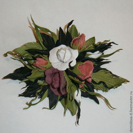 """Броши ручной работы. Ярмарка Мастеров - ручная работа. Купить Брошь из кожи """"Арнуво"""". Handmade. Брошь цветок, цветок украшение"""