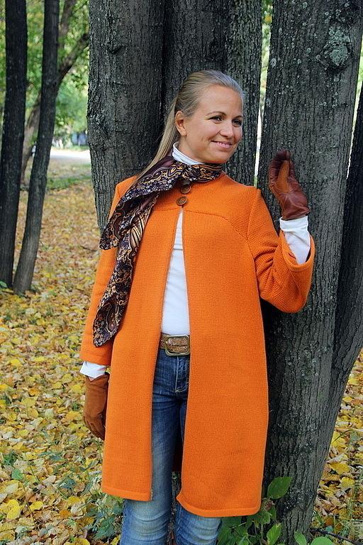 Верхняя одежда ручной работы. Ярмарка Мастеров - ручная работа. Купить Пальто Рыжее. Handmade. Оранжевый, вязаная верхняя одежда