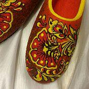 Обувь ручной работы. Ярмарка Мастеров - ручная работа Яркая Хохлома. Валяные тапочки.. Handmade.