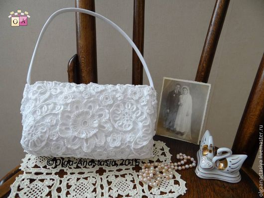 """Одежда и аксессуары ручной работы. Ярмарка Мастеров - ручная работа. Купить Свадебная сумочка """"Светлана"""",авторская работа. Handmade. Белый"""