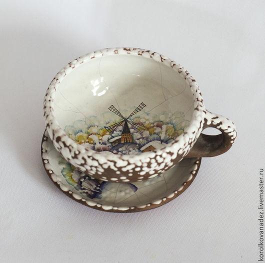 Сервизы, чайные пары ручной работы. Ярмарка Мастеров - ручная работа. Купить Керамическая чайная пара (майолика), Кружка и блюдце. Handmade.