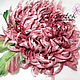 Брошь хризантема Carmine. Цветы из шелка
