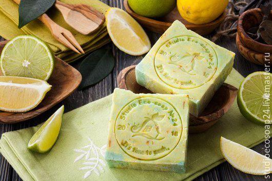 Мыло ручной работы. Ярмарка Мастеров - ручная работа. Купить Натуральное эко-мыло Лайм-Лимон. Handmade. Лимонный
