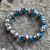 Украшения handmade. Livemaster - original item Bracelet with skulls of jewelry steel with turquoise. Handmade.