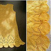 """Одежда ручной работы. Ярмарка Мастеров - ручная работа Вязаное платье """"Солнышко"""", желтое платье крючком. Handmade."""
