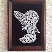 Картины и панно ручной работы. Ярмарка Мастеров - ручная работа Кружевная незнакомка в шляпе- вологодское кружево. Handmade.