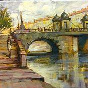Картины и панно ручной работы. Ярмарка Мастеров - ручная работа Картина с видом моста в Питере в нежной коричнево-бежевой гамме. Handmade.