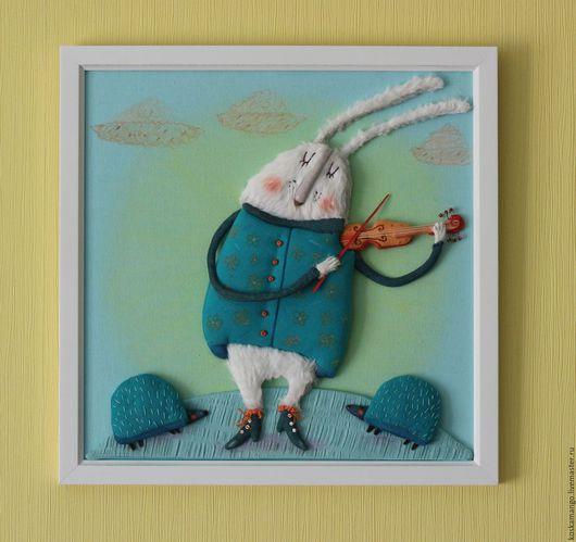 Фантазийные сюжеты ручной работы. Ярмарка Мастеров - ручная работа. Купить Кролик Скрипач. Handmade. Бирюзовый, иллюстрация, кролик, скрипка