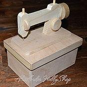 Материалы для творчества ручной работы. Ярмарка Мастеров - ручная работа Швейная машинка - шкатулка-коробочка неокрашенное дерево. Handmade.