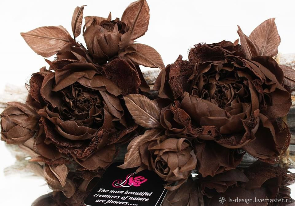 Брошь-роза «Мокко». Цветы из ткани, Брошь-булавка, Киев,  Фото №1