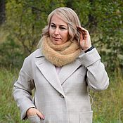 Аксессуары handmade. Livemaster - original item Fashionable voluminous beige snood scarf in two turns downy large viscous. Handmade.