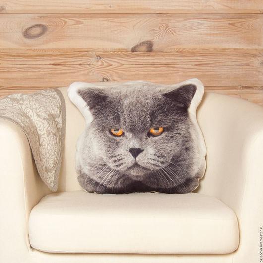 Текстиль, ковры ручной работы. Ярмарка Мастеров - ручная работа. Купить Скидка 30% Подушка Серый кот – льняная подушка в виде головы кота. Handmade.