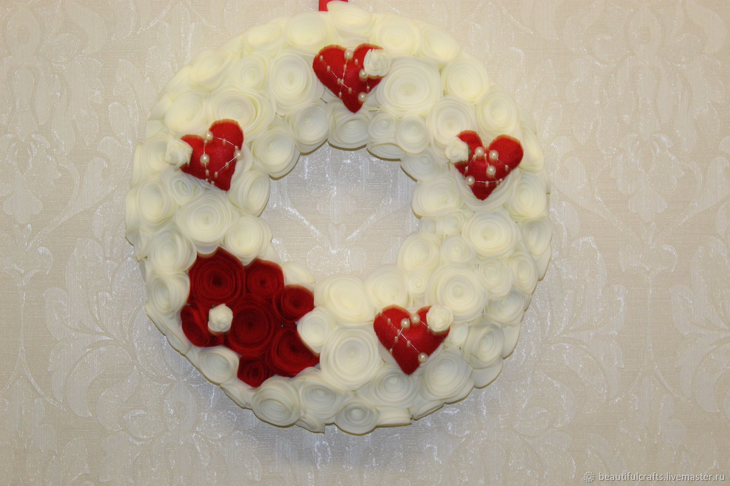 Marshmallow Wreath with hearts, Suspension, St. Petersburg,  Фото №1
