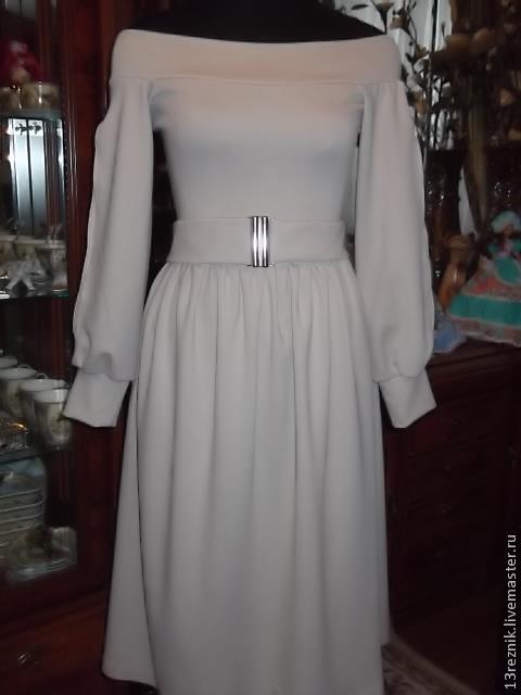 Платья ручной работы. Ярмарка Мастеров - ручная работа. Купить Платье трикотажное. Handmade. Бежевый, платье для девочки, платье на осень