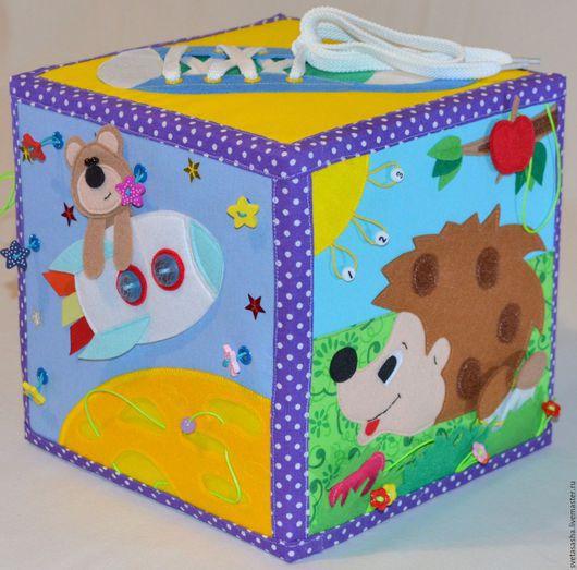 Развивающие игрушки ручной работы. Ярмарка Мастеров - ручная работа. Купить Развивающий кубик!!!. Handmade. Комбинированный, игрушка ручной работы